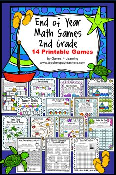 End of Year Math Games Second Grade by Games 4 Learning - This collection of end of year games contains 14 printable games that review a variety of second grade skills. These games are ideal as end of year games. $