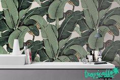 Banana Leaf Wallpaper - Non Woven Wallpaper - Floral Banana Print Wallpaper - Self Adhesive Wall Decal - Temporary Peel and Stick Wall Art