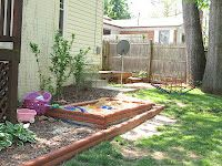 Make one raised bed into a sand box or water table for the kids!