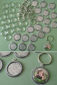 Vintage Round 30mm Photo Keychain Supplies Pack Makes 20 SP