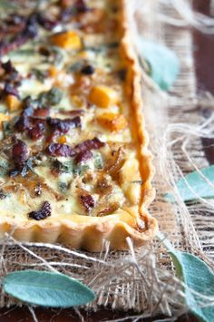Butternut squash, sage and bacon tart