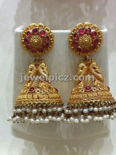 Temple jhumka in gold collection by Nalli jewelelrs ~ Latest Indian Jewellery designs