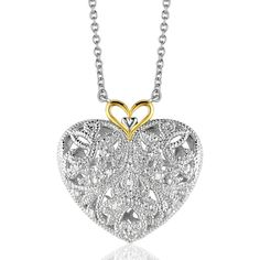 Filigree Heart Pendant with Diamonds in Sterling Silver and 14K Yellow Gold - totally gorgeous!  Additional 20% off any store item with Code:  SOCIAL20
