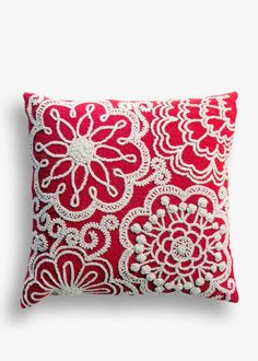 Two-Tone Floral Wool Pillow - Handmade in Peru
