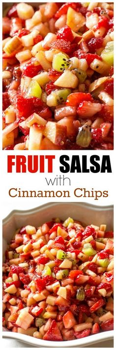 Fruit Salsa with Baked Cinnamon chips - strawberries, apples, raspberries, and kiwis make the perfect sweet salsa! the-girl-who-ate-everything.com