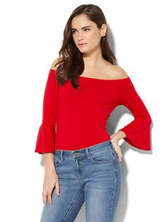 Shop Off-The-Shoulder Bell-Sleeve Bodysuit. Find your perfect size online at the best price at New York & Company.
