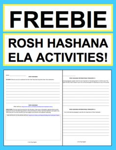 "Rosh Hashanah Activities: Free Student Printables: Free NO PREP Rosh Hashanah student printables. Simply print, project & teach this ROSH HASHANAH!! All you have to do is print the included article link. File includes link to ROSH HASHANAH History & Traditions Article, Informational Paragraph Reading Response, Informational Paragraph Writing Prompt, Informational ""How To: Paragraph Writing Prompt, Persuasive Paragraph Writing Prompt, Creative Paragraph Writing Prompt, Holiday Acrostic Poem…"