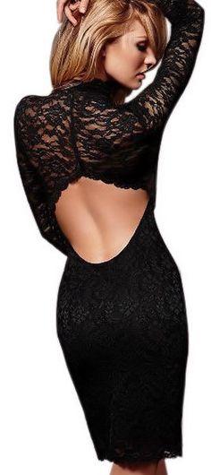 Black Backless Lace Dress ♡