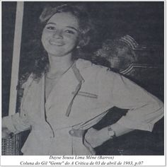 """Dayse Sousa Lima Mêne. Coluna do Gil """"Gente"""" do A Crítica de 03 de abril de 1983."""