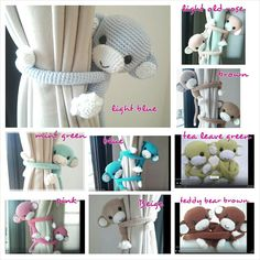Monkey curtain tie back cotton yarn crochet monkey door thujashop