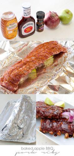 Baked Apple BBQ pork ribs for fall off the bone perfection! Bbq Pork Ribs, Pork Rib Recipes, Carnivore, Good Food, Yummy Food, Pork Dishes, Baked Apples, Burger, Food To Make
