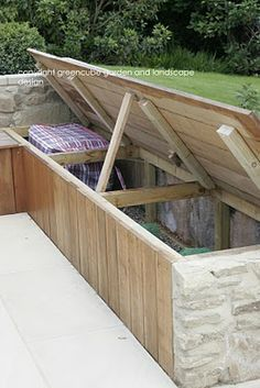 greencube garden and landscape design, UK: garden storage under seats (instead of a shed?) greencube garden and landscape design, UK: garden storage under seats (instead of a shed? Garden Storage Bench, Bench With Storage, Storage Benches, Outdoor Storage, Diy Bench, Small Garden Storage Ideas, Small Garden Decking Ideas, Garden Cushion Storage, Garden Cushions