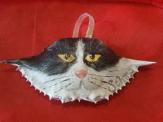 Hand Painted Crab shell ornament. This was a custom of a friends cat.