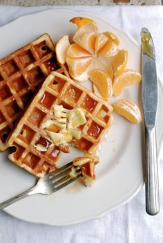 ► Eggnog Waffles Recipe: eggs, flour, turbinado sugar, baking powder, sea salt, nutmeg, cinnamon, eggnog, vegetable oil and vanilla. Beat egg whites to stiff peaks.