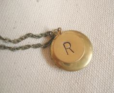 Personalized Necklace Gold Locket Brass Monogrammed Engraved Initial Charm Round Photo Locket  Handstamped Letter Everyday Necklace. $24.00, via Etsy.