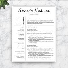 Resume Template Professional Resume Template  Cover Letter