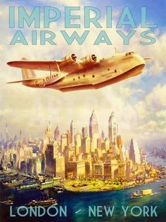 Imperial Airways Flying Boat vintage travel poster