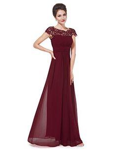 Ever Pretty Damen Lace Rueckseite Offen Kurzarme Chiffon Lange Abendkleider  09993  Amazon.de  Bekleidung. Abendkleid BordeauxBallkleid RotRotes ... 3741da1aa4