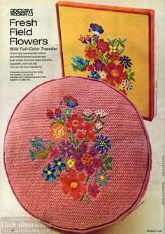 Field flower needlepoint (1973) - Click Americana