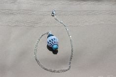 Tones of Blue Crochet Pendant Necklace by FuchsiaFoxStudio on Etsy