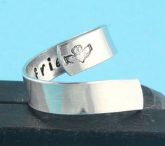 Claddagh Twist Wrap Ring - Love Loyalty Friendship - Irish Saying - Hand Stamped Ring - Graduation present