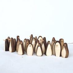 3 figurines de pingouin bois pingouins en bois à la main | Etsy