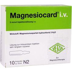 MAGNESIOCARD Magnesium i.v. Ampullen:   Packungsinhalt: 10X10 ml Injektionslösung PZN: 01984085 Hersteller: Verla-Pharm Arzneimittel GmbH…