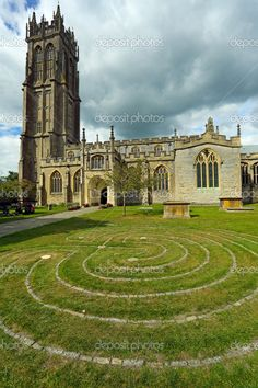 Church of St. John in Glastonbury town, Somerset, England, UK, with the Glastonbury Labyrinth in the foreground. Somerset England, England Ireland, Church Of England, England And Scotland, England Uk, Glastonbury Town, Glastonbury England, Cornwall, Roi Arthur