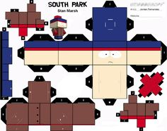Blog Paper Toy papertoys South Park Stan template preview Papertoys South Park (x4)