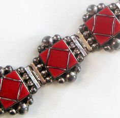 Vintage Sterling Silver Red Mexico Mexican Bracelet