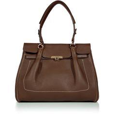 SALVATORE FERRAGAMO Espresso Fara Shoulder Bag ($1,047) ❤ liked on Polyvore featuring bags, handbags, shoulder bags, purses, bolsas, bolsos, leather purse, leather handbags, evening purse and leather shopper bag