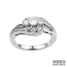Simply Vera Vera Wang Diamond Swirl 3-Stone Engagement Ring in 14k White Gold (1/2 ct. T.W.)
