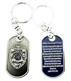 Police Officer's Wife Prayer Brushed Steel Keychain by RescueTees, $10.99