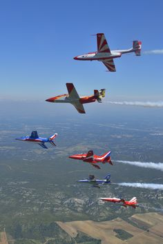 The multi-team formation shot includes (top to bottom) the Polish Bialo-Czerwose Iskry, Spanish Patrulla Agulia, Patrouille de France, British Red Arrows, Italian Frecce Tricolori and Turkish Stars aerobatic teams. This photo was taken in Salon, France in May during celebrations to commemorate the 60th anniversary of the Patrouille de France.