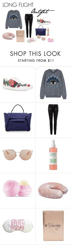 """""""Long Flight Outfit"""" by vaniagunawan on Polyvore featuring Gucci, Kenzo, CÉLINE, Paige Denim, Christian Dior, Mario Badescu Skin Care, Eos, Forever 21 and Miss Selfridge"""