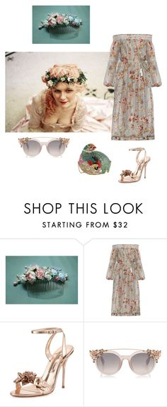 """C A K E // Marie Antoinette"" by catherine-maria ❤ liked on Polyvore featuring Zimmermann, Sophia Webster, Judith Leiber, floralprint, pastel and eveningwear"