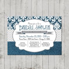 I know this is a bridal shower invite but I like the idea of using different patterns the layout is kinda cool too