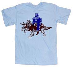 robot riding a dinosaur t-shirt.