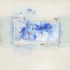 I (Margje) made this digital scrapbook/watercolor artpage of some flowers with Anniver5ary 1 - Forget Me Not  and ArtPlay Palette Forget Me Not  from Anna Aspnes