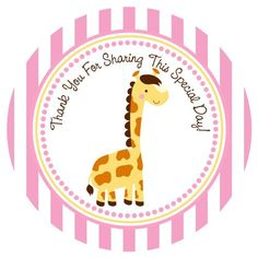 Giraffe Stickers - Thank You Favor Label - Baby Shower Birthday Party in Pink - Set of 30