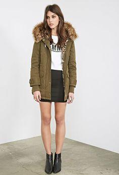 Faux Fur-Lined Hooded Parka - Jackets & Coats - Coats - 2055878988 - Forever 21 UK