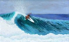 Surfing Racetrack, Uluwatu. 3D acrylic in resin painting on wood. by Nathan Ledyard Art