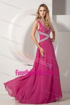 A-line V-neck Beaded Hot Pink Chiffon Pageant Dress Patterns with Appliques