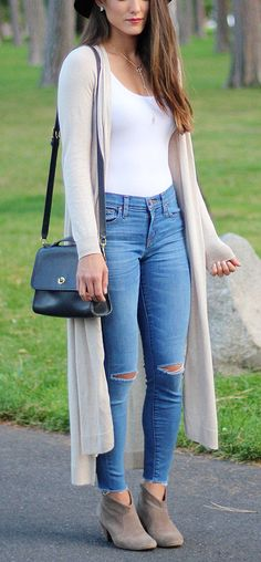 summer outfits  Beige Maxi Cardigan   White Tank   Destroyed Skinny Jeans