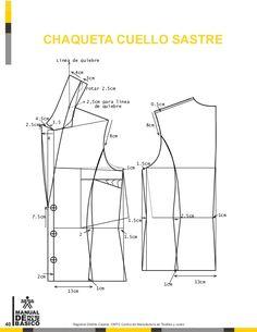 Manual de patronaje CMT - SENA Dress Making Patterns, Coat Patterns, Pattern Making, Clothing Patterns, Sewing Patterns, Sewing Men, Sewing Pants, Collar Pattern, Jacket Pattern