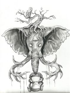 Holders of Time, Pencil Drawing for Elephant Tattoo