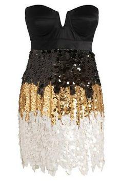 Chic Dress. Black & Gold & White. Sequins.