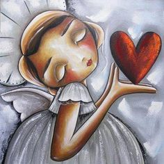 Art Painting by Chanelle Correia includes Holding your heart, this example of Still Life has inspired this exceptionally talented artist. View other Paintings by Chanelle Correia in our Online Art Gallery. I Believe In Angels, Angels Among Us, Angel Art, Heart Art, Whimsical Art, Belle Photo, Online Art Gallery, Painted Rocks, Folk Art