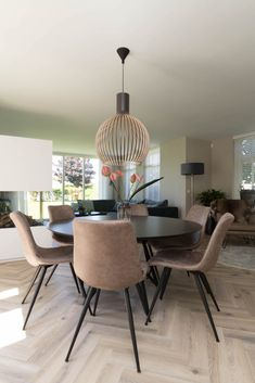 The dining room is very similar to the living room in many ways. It is versatile, although mostly it is used for family dining as… Black Round Dining Table, Small Space Interior Design, Mid Century Dining, Dining Room Design, Kitchen Interior, Home And Living, Living Room Decor, Home Decor, Room Ideas