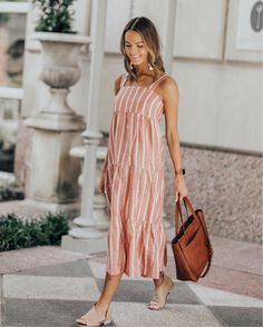 adorable striped midi dress perfect for spring or summer Fashion 2018, Fashion Dresses, Women's Fashion, Spring Summer Fashion, Autumn Fashion, Lauren Kay Sims, Summer Outfits, Summer Dresses, Striped Midi Dress
